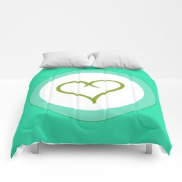 Green Heart with Love Comforters