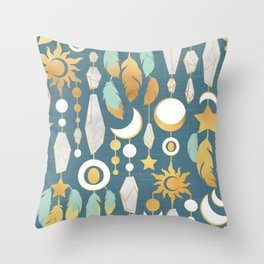 Bohemian spirit // dark turquoise background Throw Pillow