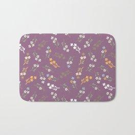 Tossed Wildflowers in Purple Bath Mat