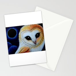 BARN OWL AND LUNAR ECLIPSE Stationery Cards