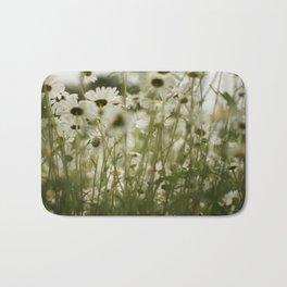 white daisies :) Bath Mat