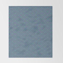 Purple Lime Sayagata Pattern - Auspicious Sacred Geometry Throw Blanket