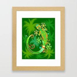 Gecko Lizard Colorful Tattoo Style Framed Art Print
