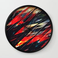 blade runner Wall Clocks featuring Blade runner by Kardiak