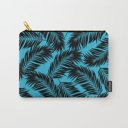 Palm Frond Tropical Décor Leaf Pattern Black on Cyan Vivid Arctic Blue Carry-All Pouch