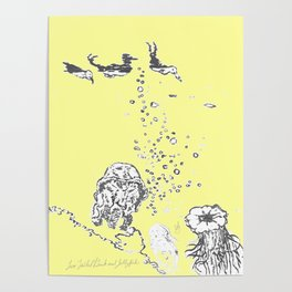 Two Tailed Duck and Jellyfish Baby Yellow Poster
