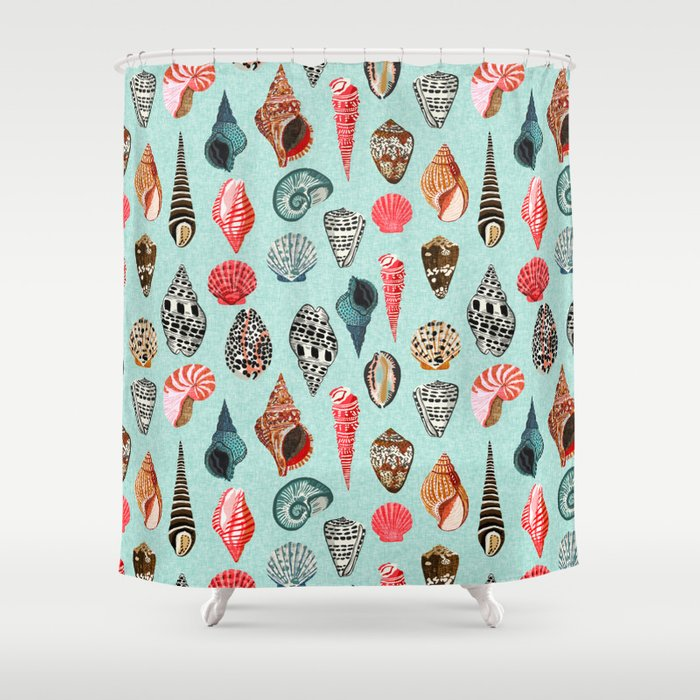 Seashells Ocean Nautical Beach Seaside Children Kids Baby Home Dec Shell Illustration Andrea Lauren Shower Curtain