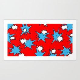 Stars (Blue & White on Red) Art Print