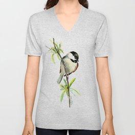 Chickadee on Willow, minimalist bird artwork chickadee painting Unisex V-Neck