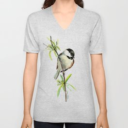 Chickadee on Willow, minimalist bird artwork chickadee painting Unisex V-Neck