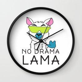 No drama Lama Cute T Shirt Funny No Drama Alpaca Lammacorn Wall Clock