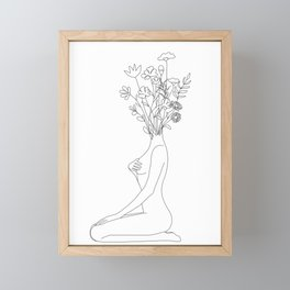 Minimal Line Bloom Framed Mini Art Print