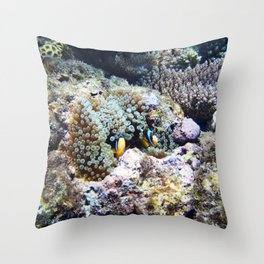 Fish in Sea Anemone Throw Pillow