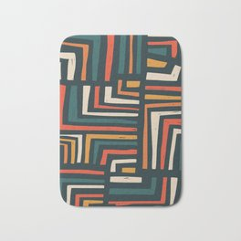 Square puzzle folk pattern Bath Mat