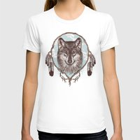 gray T-shirts featuring Gray Wolf by Rachel Caldwell