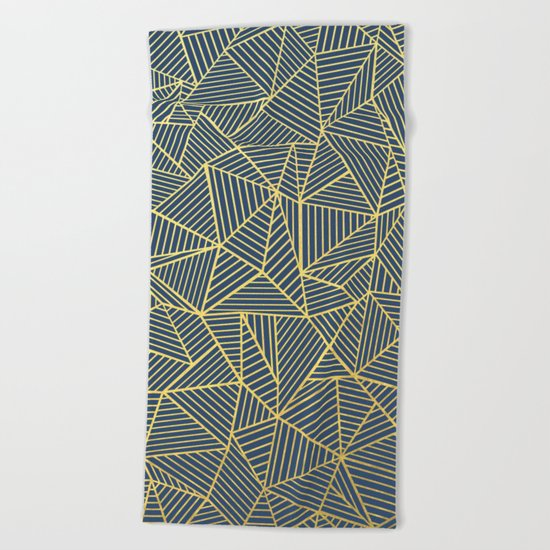 Ab Lines Gold and Navy Beach Towel