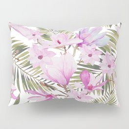 Tropical hand painted green magenta watercolor floral Pillow Sham