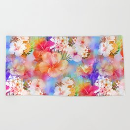 Tropical Hawaiian Garden Beach Towel