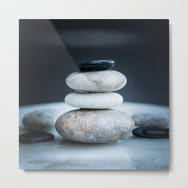 Pile of pebbles in balance Metal Print