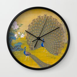 Peacock spreading its tail feathers - Lang Shining (Giuseppe Castiglione, 1688-1766 Wall Clock