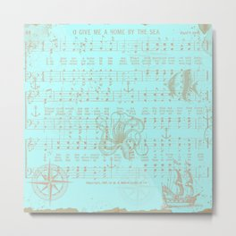 Vintage aqua brown nautical classic music sheet Metal Print