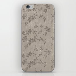 Abstract vintage chic brown cream floral illustration iPhone Skin