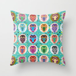 funny colored owls on a turquoise background Throw Pillow