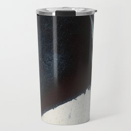 Like A Gentle Hurricane [2]: a minimal, abstract piece in blues and white by Alyssa Hamilton Art Travel Mug