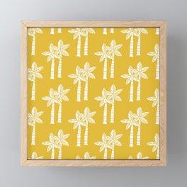Palm Tree Pattern Mustard Yellow Framed Mini Art Print