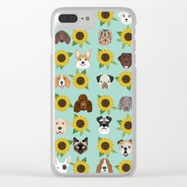 Dogs and cats pet friendly sunflowers animal lover gifts dog breeds cat person Clear iPhone Case