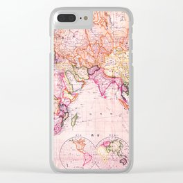 Vintage Map Pattern Clear iPhone Case