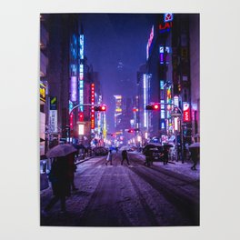 Shibuyascapes Snowy Night Poster