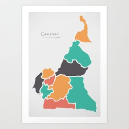 Cameroon Map with states and modern round shapes Art Print