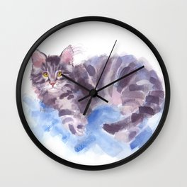 Azure Purr Wall Clock