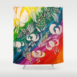 Leaves on the World Tree: Bosniak Pine and Golden Lily Shower Curtain