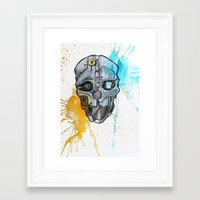 dishonored Framed Art Prints featuring Corvo's Mask - Dishonored - Ink Splatter by Salzburn Designs Shop