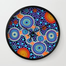 Authentic Aboriginal Art - The Journey Blue Wall Clock