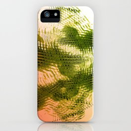 Mark Making with Olive Greens on Tangerine iPhone Case