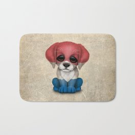 Cute Puppy Dog with flag of The Netherlands Bath Mat