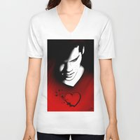 stiles V-neck T-shirts featuring Black Heart - Stiles by xKxDx
