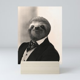 Gentleman Sloth with Authoritative Look Mini Art Print