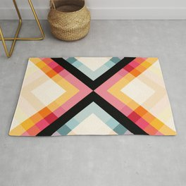 Pure Love 4 Classic Colorful Abstract Minimal Retro 70s Style Graphic Design Rug