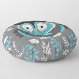 BLUE OWL AND LEAVES Floor Pillow