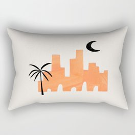 Minimalist Minimal Mid Century Abstract Middle Eastern Ancient Ruins Palm Tree Moon Ejaaz Haniff Rectangular Pillow