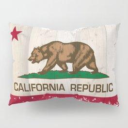 California Republic flag on woodgrain   Pillow Sham