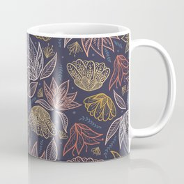 Bohemian Florals in Blue + Coral Coffee Mug