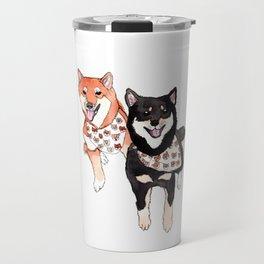 Two Shiba Inu with Bandana Travel Mug