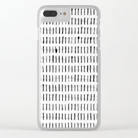 Black Ink Woodstock Pattern on White Clear iPhone Case