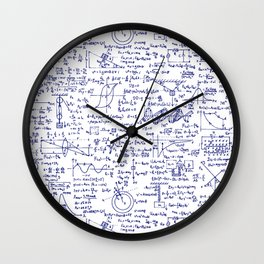 Physics Equations in Blue Pen Wall Clock