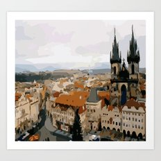 Prague CZ street view Art Print
